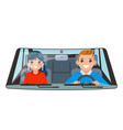driver vehicle passenger interior car wheel ride vector image