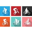 flat icons bicyclists vector image vector image