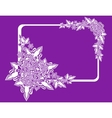 Frame with abstract flowers on lilac background vector image vector image