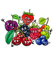 funny fruit characters group cartoon vector image vector image