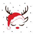 greeting card with cute deer antlers vector image