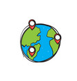 hand drawn globe and map pin icon symbol for gps vector image vector image