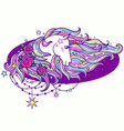 head a white unicorn with a long mane and vector image vector image