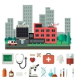Hospital with medical icons vector image