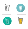 Lemonade drink flat design linear and color icons vector image
