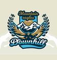 logo emblem of an eagle flying mountains rocks vector image