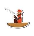 man fishing on boat icon vector image