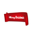 merry christmas inscription on red curved ribbon vector image