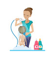 mom bathes baby in shower in bathroom with soap vector image