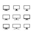 monitor icons set computer or tv display signs vector image