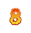 number 8 fire flames font eight tattoo alphabet vector image vector image