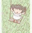 one little girl is riding on a swing vector image vector image