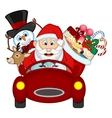 Santa Claus Driving a Red Car Along With Reindeer vector image vector image