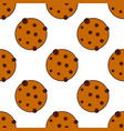 seamless cookies pattern flat style vector image