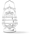 Sketch old kerosene lamp vector image vector image