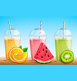 smothie set with fresh fruit vector image