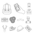 style hipster outline icons in set collection for vector image