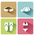 summer clothes icons with shadow on a white vector image vector image
