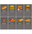 takeaway fast food posters set ice cream hot dog vector image vector image