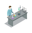 teacher near table with lab equipment vector image