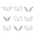 wings icon set vector image vector image