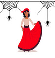 woman wearing carnival pirate dress spider web vector image vector image
