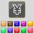 Yen JPY icon sign Set with eleven colored buttons vector image vector image