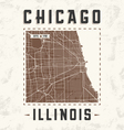 chicago city streets t shirt design with city map vector image