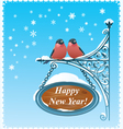 2 Bullfinches - Happy New Year Card vector image vector image