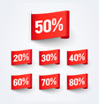 50 procent off sales discount label flag set vector image