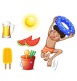 A boy with the different things for summer vector image vector image