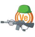 army veritaseum coin character cartoon vector image vector image