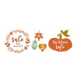 autumn banner with leaves frame and pumpkin vector image