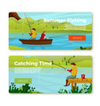 banners set - fishermans on river vector image vector image