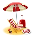 Beach Deck Chair And Umbrella vector image