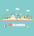 bright abstract design with florida famous places vector image vector image