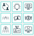 business icons set with business card internet vector image vector image
