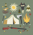 Camping and hiking elements with shabby texture vector image vector image