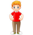 cartoon boy standing and holding hands on hips vector image