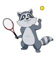 Cartoon raccoon tennis player character vector image vector image
