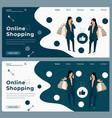 cartoon trendy online shopping web banner vector image vector image