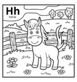 coloring book colorless alphabet letter h horse vector image vector image