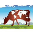 Cow earth vector image vector image