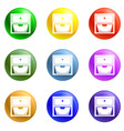 drawer icons set vector image vector image