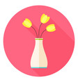 Flat Vase with Tulip Flowers Circle Icon with Long vector image vector image