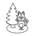 fox with christmas tree cartoon vector image vector image