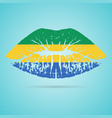 gabon flag lipstick on the lips isolated on a vector image vector image