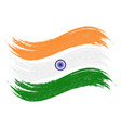 grunge brush stroke with national flag of india vector image vector image
