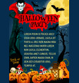 halloween monster night party banner with vampire vector image vector image