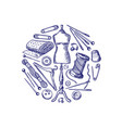 hand drawn sewing elements vector image vector image